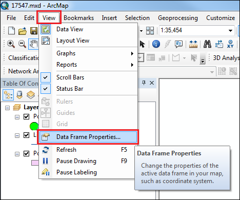 Open the Data Frame Properties dialog box.