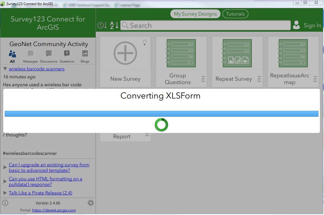 Screenshot of Survey123 Connect for ArcGIS in an indefinite loop when converting XLSForm