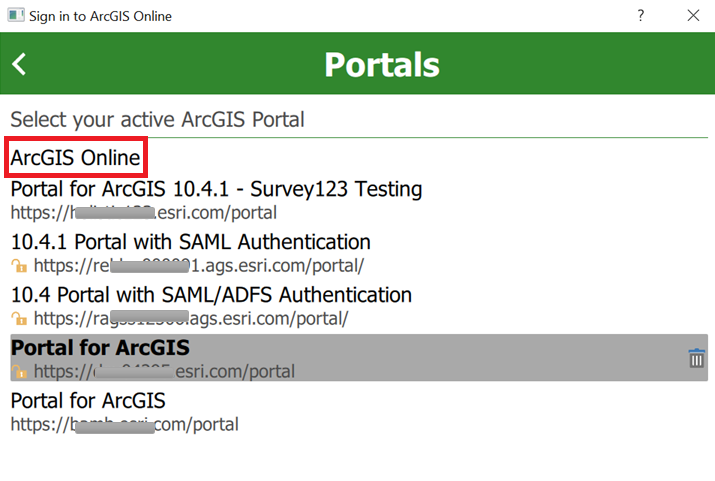 Screenshot of active ArcGIS Portals with ArcGIS Online highlighted
