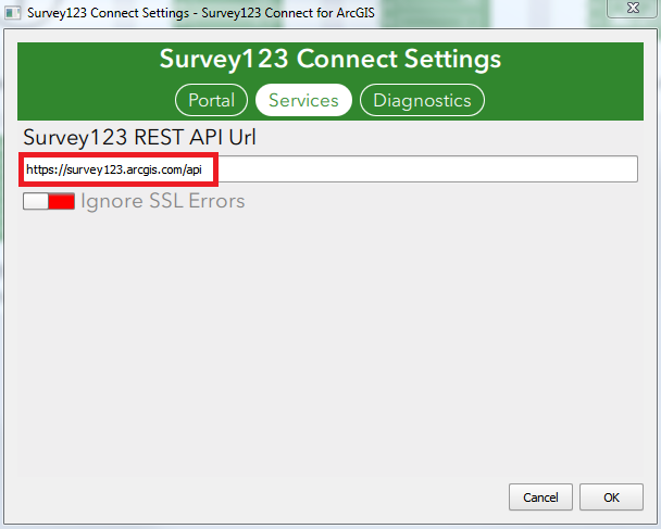 Screenshot of the default URL in the Survey123 REST API Url.