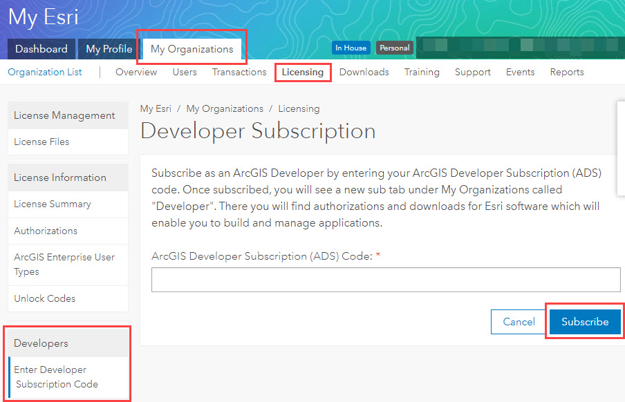 Clicking Subscribe in the Developer Subscription page to process the ArcGIS Developer Subscription.