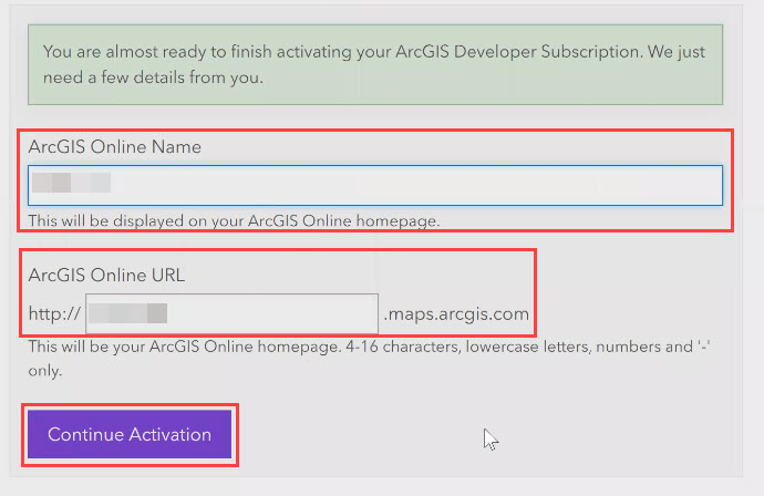Enter the desired ArcGIS Online name and ArcGIS Online URL in the respective text boxes.