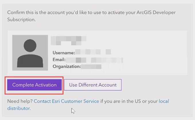 Click Complete Activation to confirm the account details for the subscription.