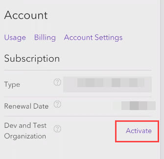Click Activate under Account to activate the ArcGIS Online Dev and Test Organization.