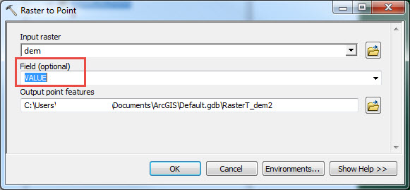 Image of the Raster to Point tool dialog