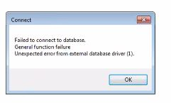 Error: Failed to connect to database  General function failure