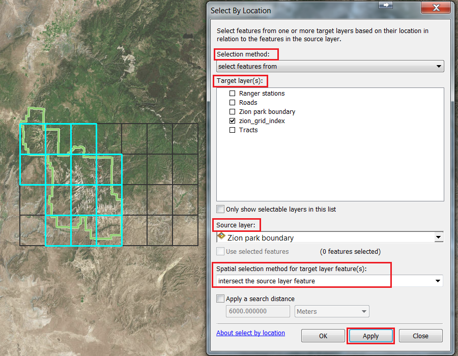 An image of the Select By Location dialog box and the output.