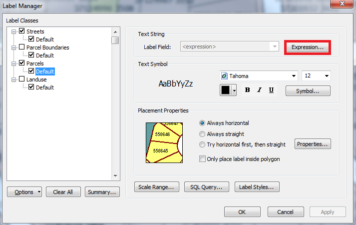 Screenshot of the Label Manager with Expressions... highlighted.