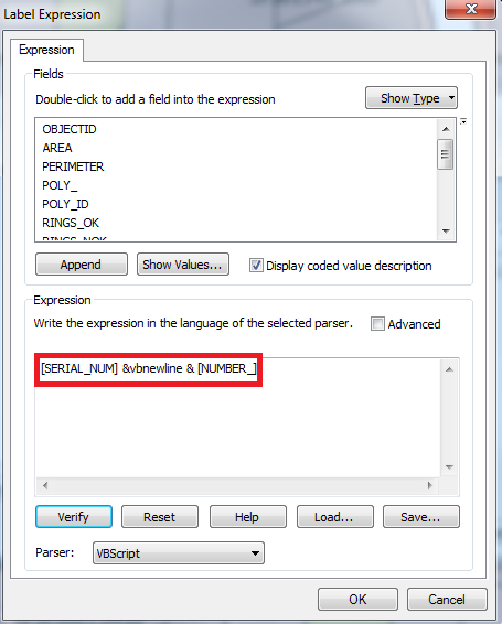Screenshot of the Label Expression dialog box with the expression highlighted.