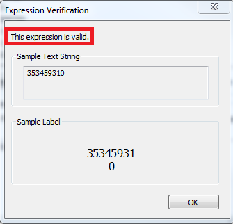 Screenshot of Expression Verification with the expression as valid highlighted.