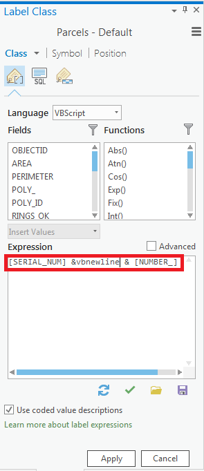 Screenshot of the expression entered.
