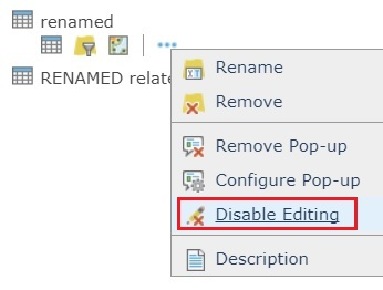 Image of the Disable Editing button in ArcGIS Online