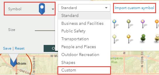image of Symbol drop-down arrow, Custom and Import custom symbol options