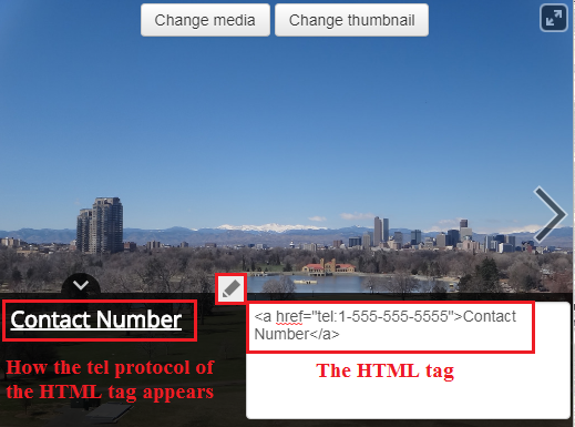 Editing the HTML tag in the caption section.