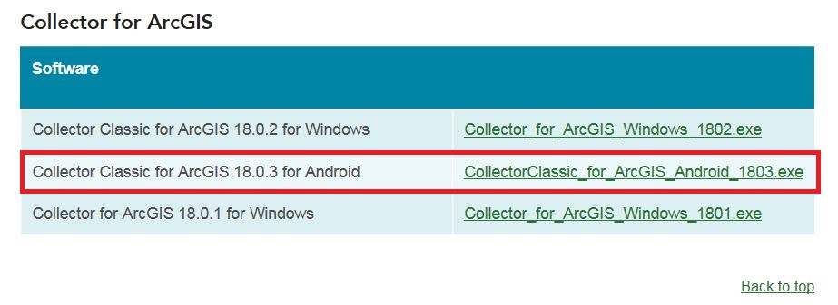 Image of the list of executable files for Collector for ArcGIS