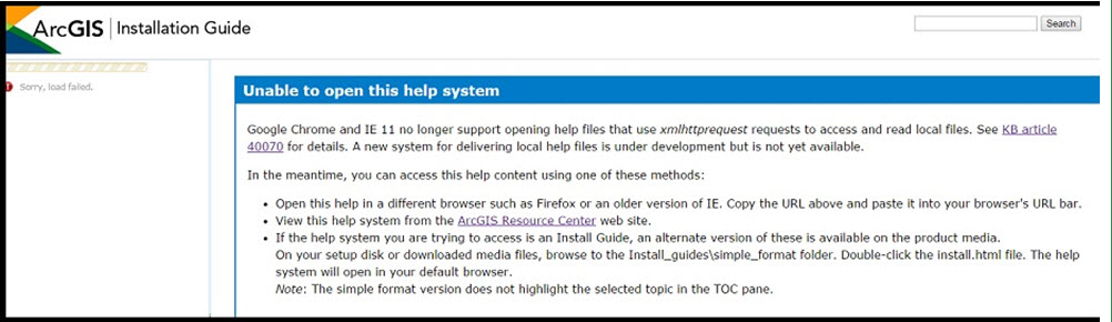 Problem: ArcGIS installation help files fail to open in