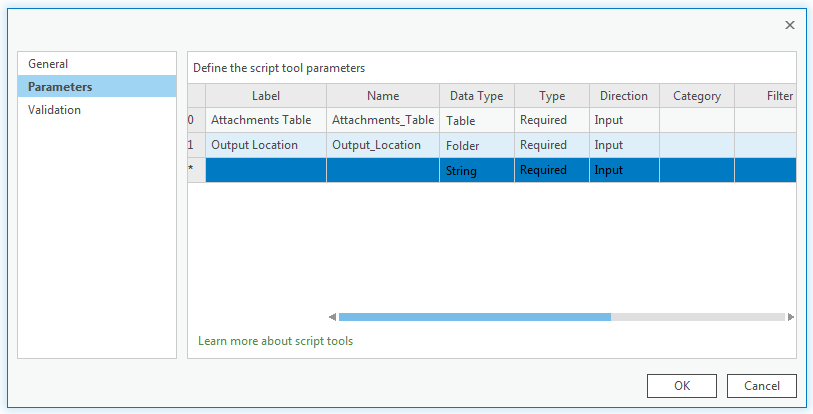 An image of the Parameters section of the script tool property page.