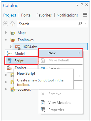 An image of the steps to create a new script tool in a toolbox.