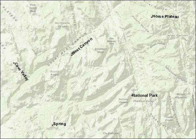 An image of point features labeled with ArcGIS Pro annotations.
