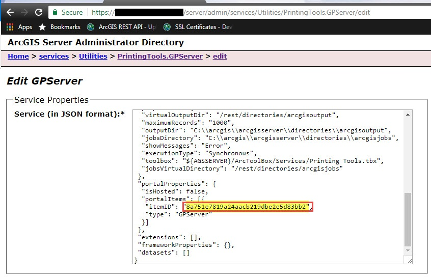 Image of the Item ID in ArcGIS Server Administrator JSON