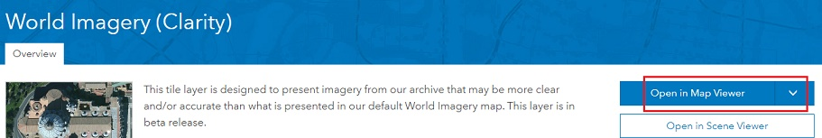 The image of the World Imagery(Clarity) tile layer