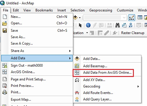 Image of Add Data from ArcGIS Online command in ArcMap