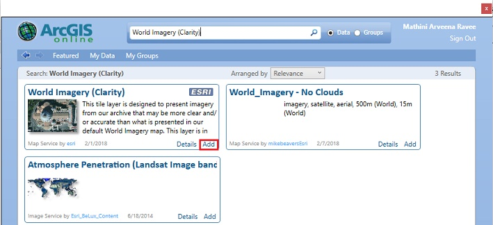 Image of Add Data from ArcGIS Online window in ArcMap