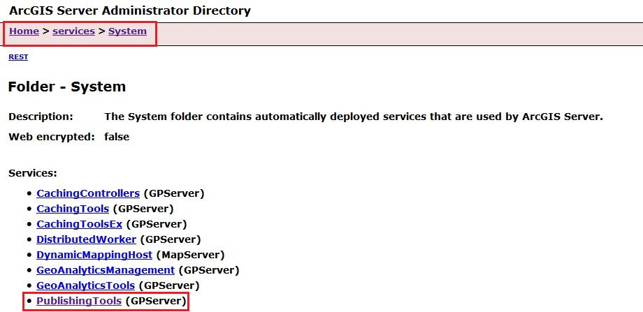 The image of ArcGIS Server admin System page.