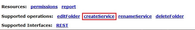 Image of createService link.
