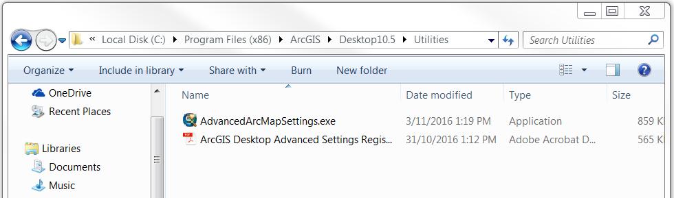An image of navigating to AdvancedArcMapSettings.exe.