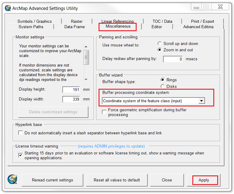 An image of the ArcMap Advanced Settings Utility window.