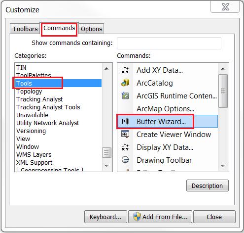The Customize dialog box.