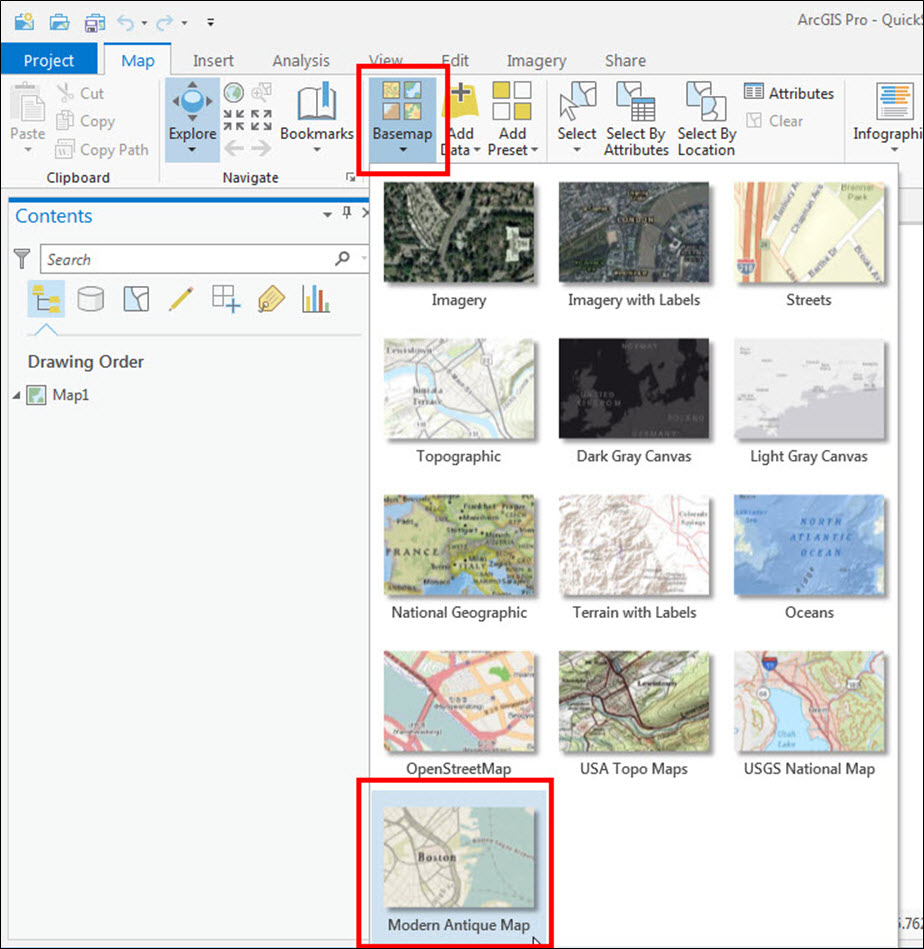 An image of the Basemap list in ArcGIS Pro.