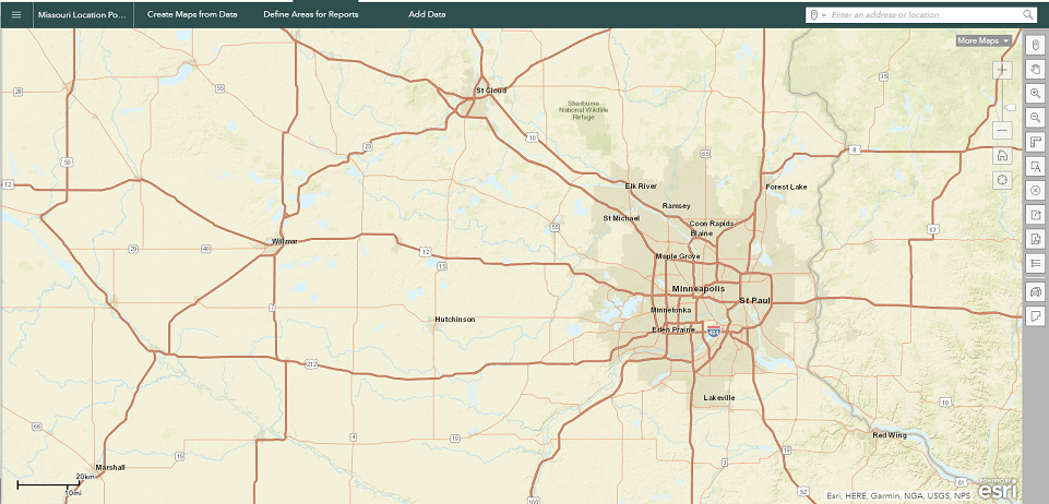 The map display of the Business Analyst Web App after setting the default map extent.