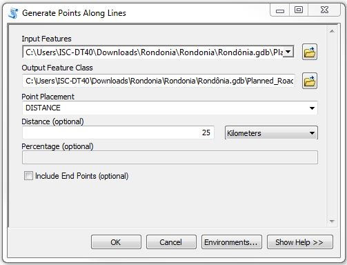 Generate Points Along Lines dialog box.