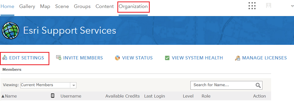 An image of navigating to the organization settings page.