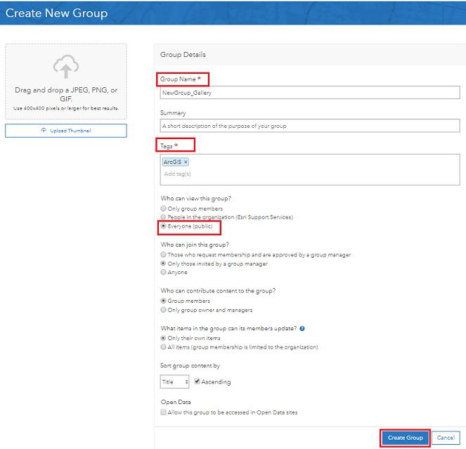 An image of the Create New Group page.