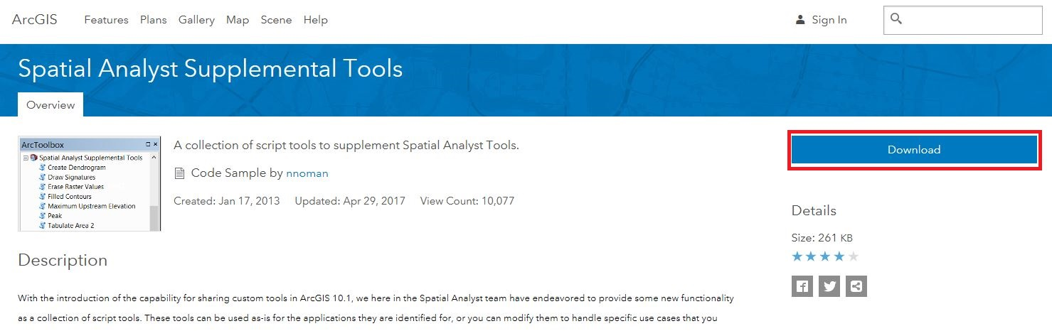 Download Spatial Analyst Tools toolbox from ArcGIS website
