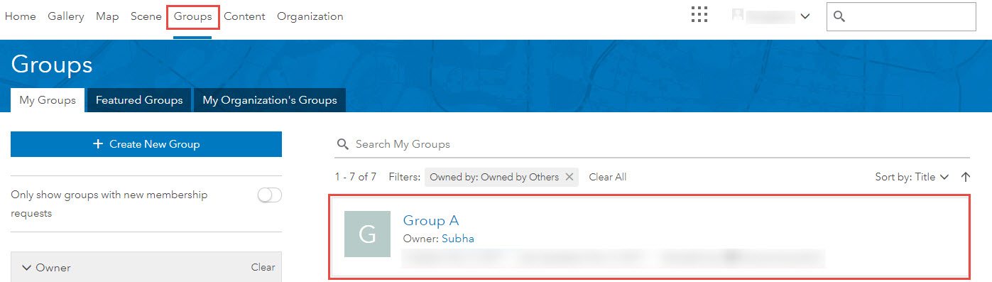Groups tab and target group