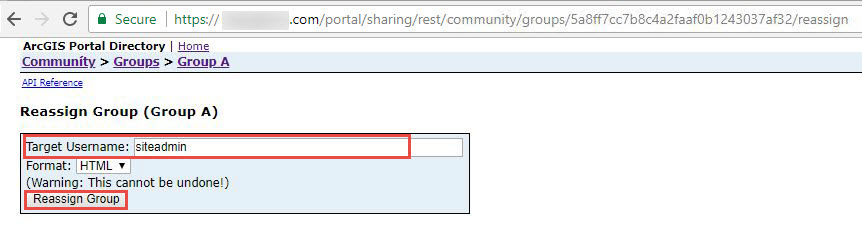 Target username and Reassign Group option