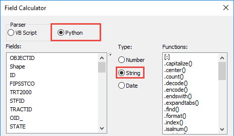 Python Parser and String Type option