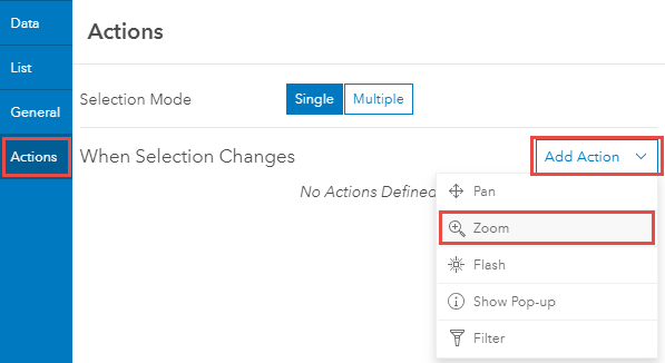 Add Action > Zoom