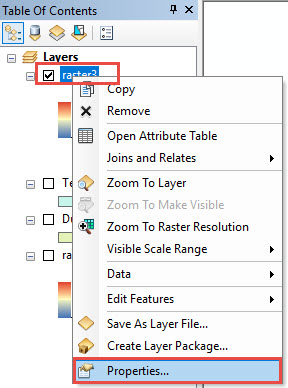 Properties option of Input raster layer