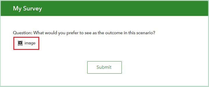 An image of the published survey form does not display the image