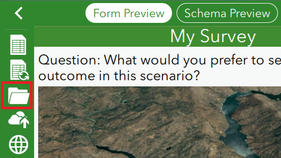 An image showing the survey content folder in Survey123 Connect for ArcGIS
