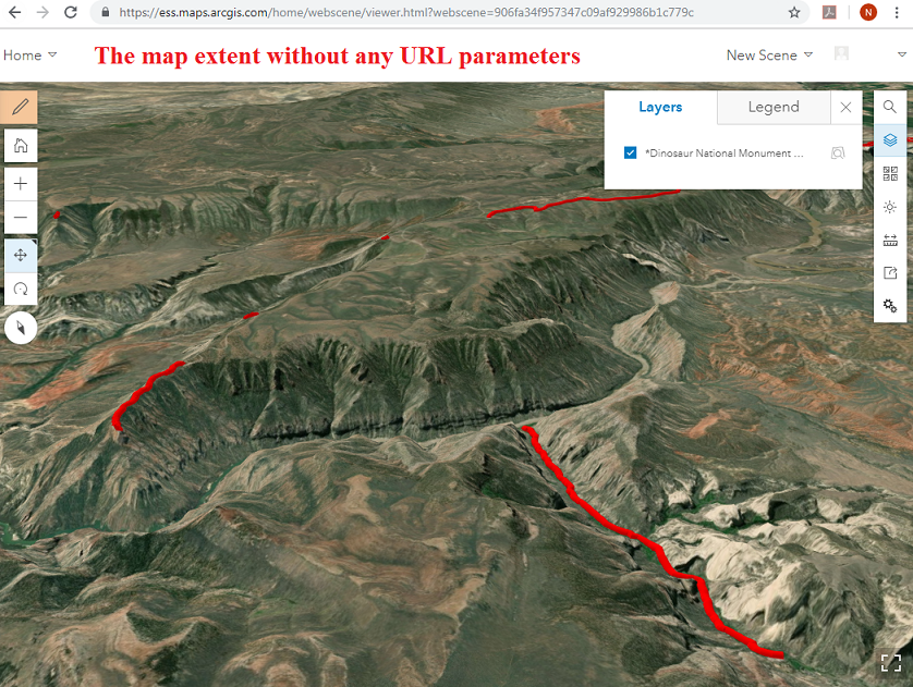 The map extent without any URL parameters.