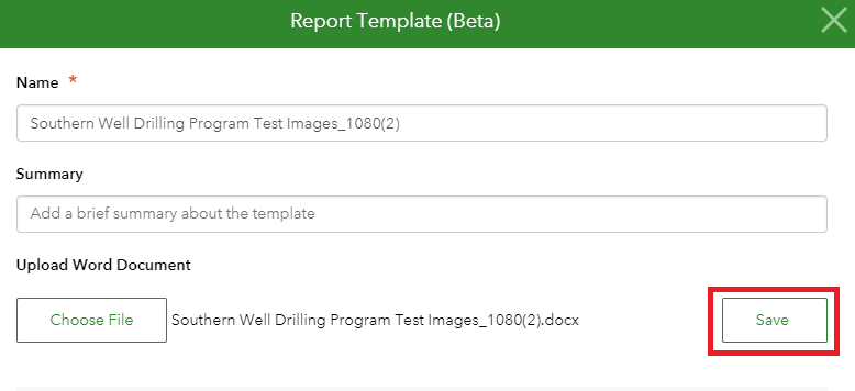 Screenshot of Report Template (Beta) with Save highlighted.