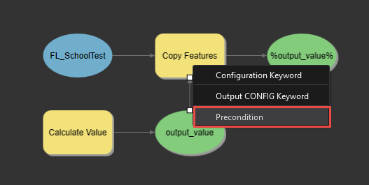 Click the output and select Preconditional.