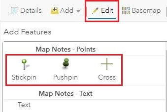 This is the Map Notes - Points option.