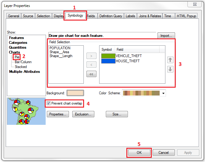 This is the Layer Properties dialog box for the Pie Chart option.